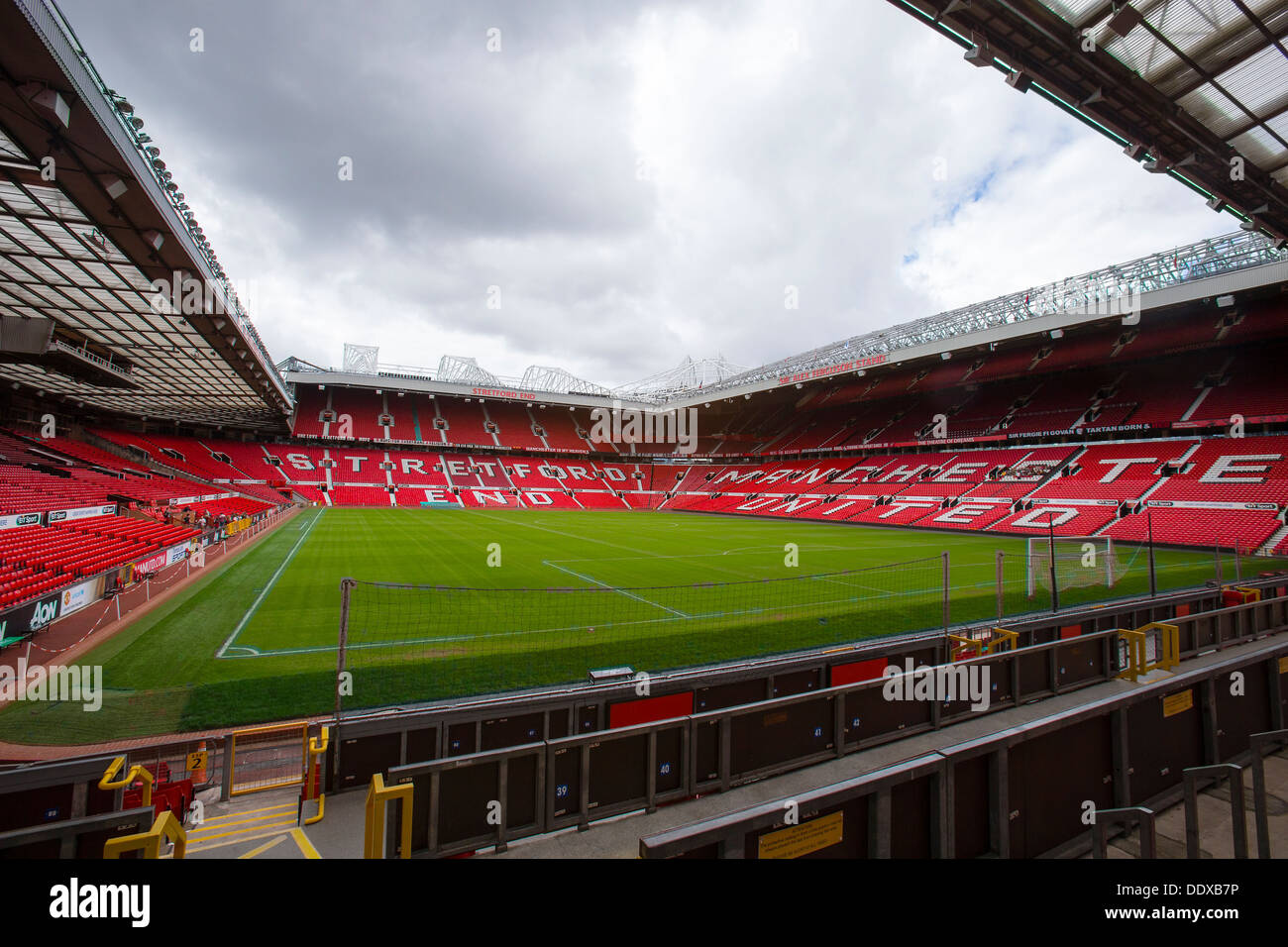 Old Trafford Stadium, Manchester United's football ground taken from the disabled stand - Stock Image