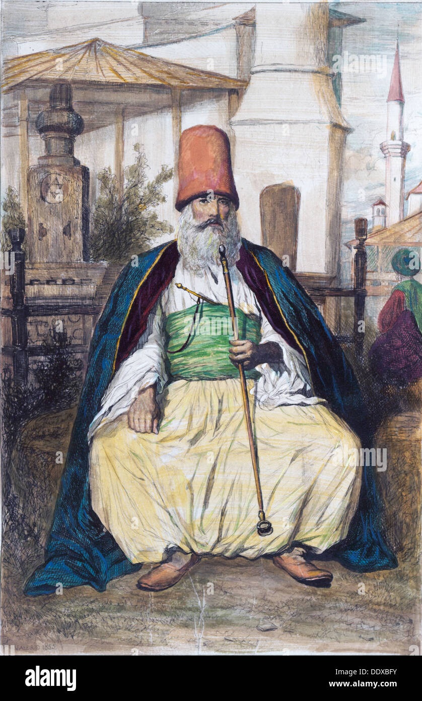 Egyptian Dervish in Austria Hungary, Austro-Hungarian empire, 1855 by Theodore Valerio, 1819-1879, French etcher and painter - Stock Image
