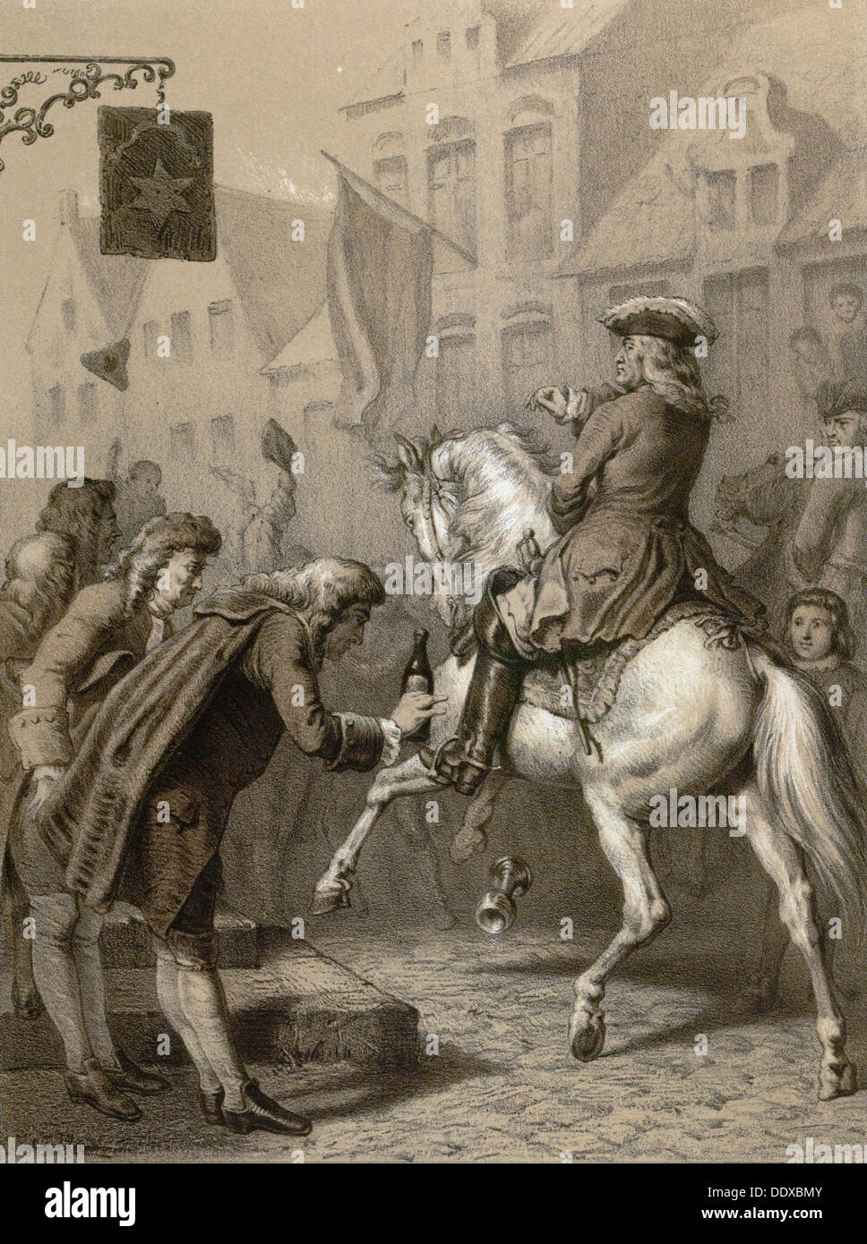 Grunberger wine, Silezien, Poland, bottle, glass, horse, town, food and drink, liszt gourmet archive, 19th century - Stock Image