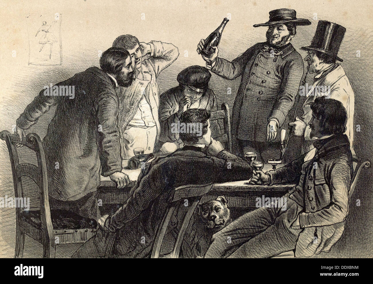 Drinking the bottles in Germany, 19th century lithography, wine, wine glass, wine-bottle, alcohol, alcoholic, men, dog, glasses - Stock Image