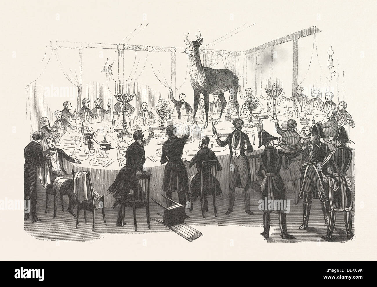 19th century dinner party after the hunt. engraving 1800s - Stock Image