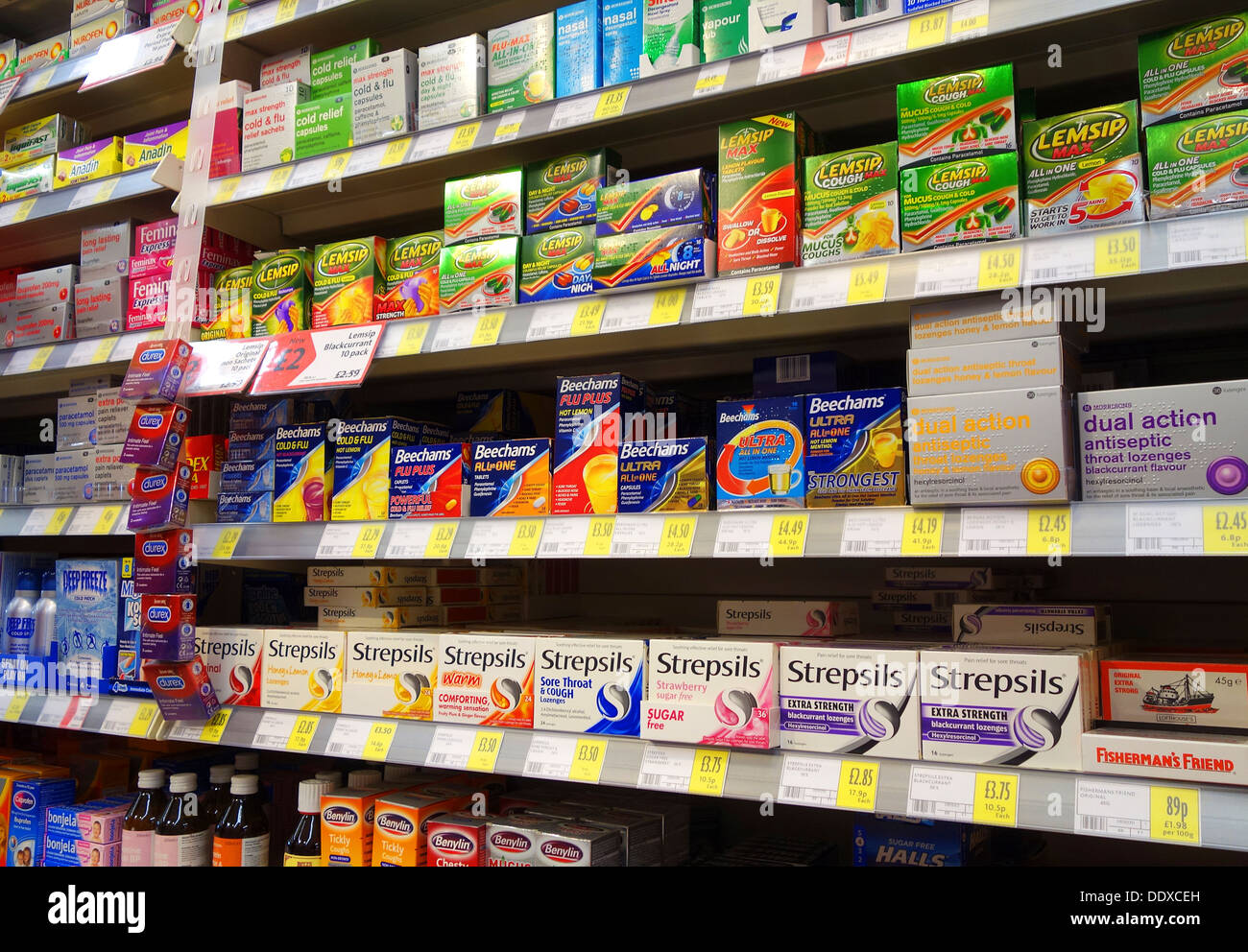 Cold and Flu relief medicines on sale in a UK supermarket - Stock Image
