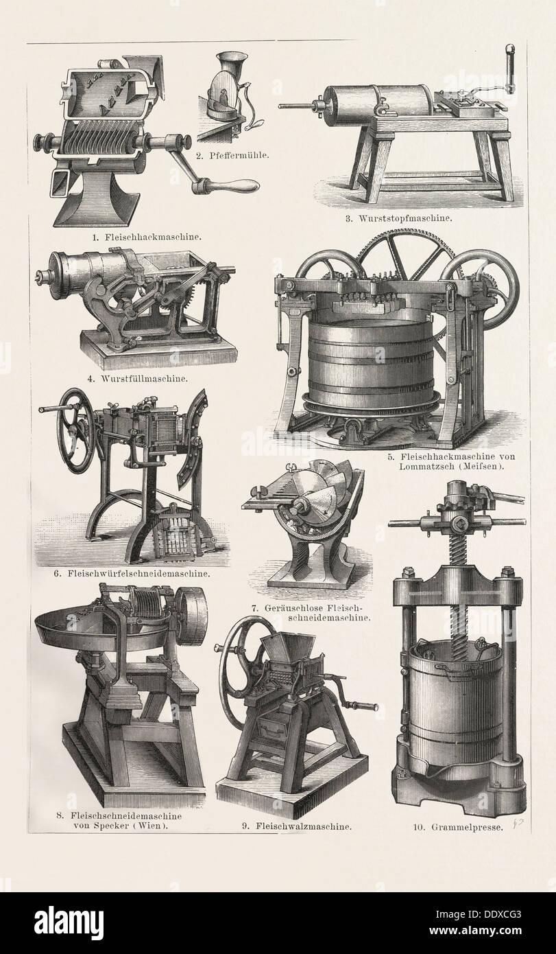 Machines To Prepare Meat Around 1890 19th Century Liszt