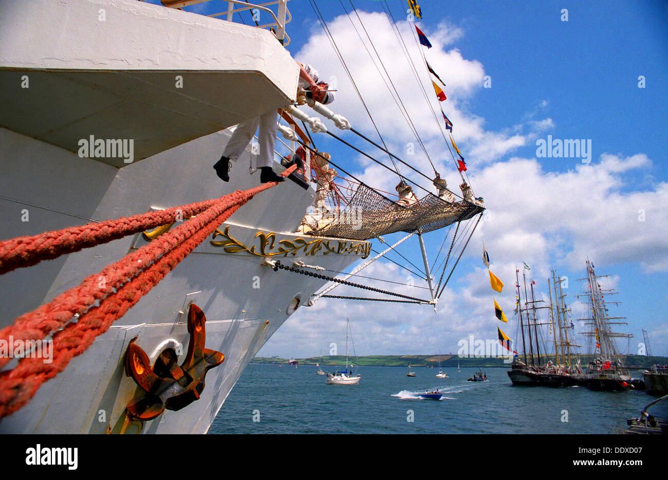 Tall Ship's race preparations, Falmouth, Cornwall. 1998 - Stock Image