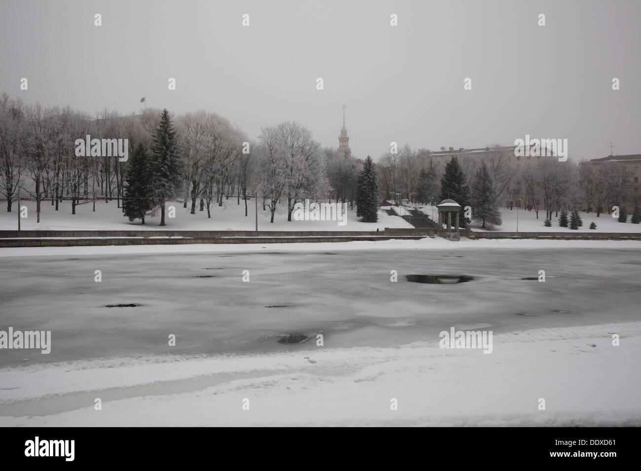 Along the banks of the frozen Svislach River. Minsk, Belarus. Stock Photo