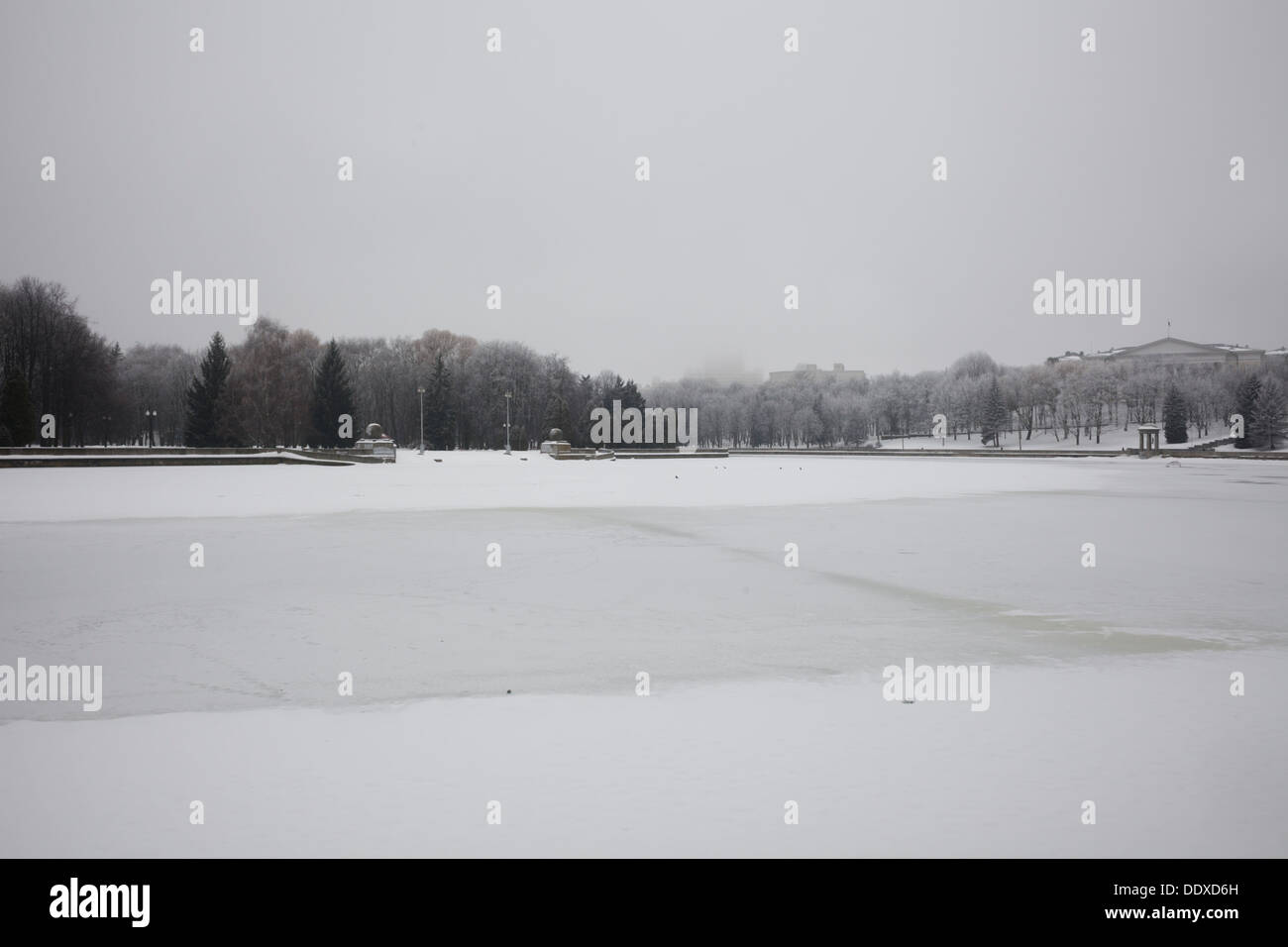 Along the banks of the frozen Svislach River. Minsk, Belarus. - Stock Image
