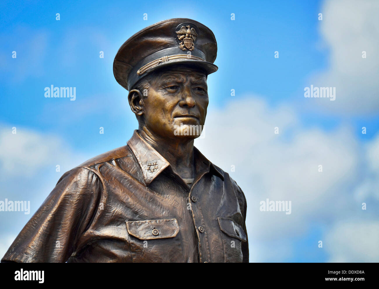 A 9-foot tall bronze statue of Fleet Adm. Chester Nimitz is unveiled at a statue dedication ceremony in front of - Stock Image