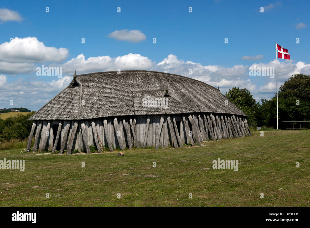Viking longhouse at Fyrkat, Hobro, Denmark. - Stock Image