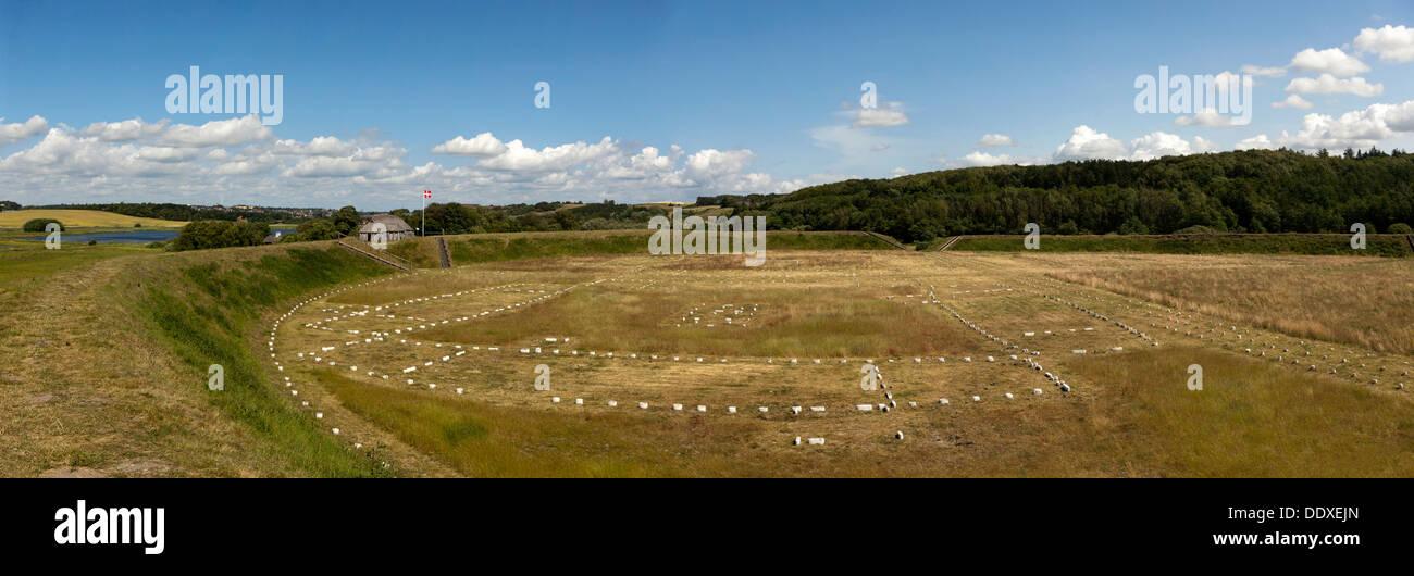Fyrkat Viking ring castle. Hobro, Denmark. - Stock Image