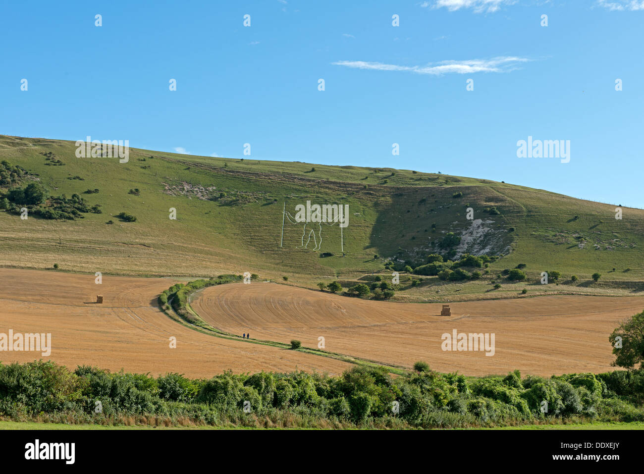 Lanscape View Of The Long Man Of Wilmington, Wilmington,East Sussex, England, Uk - Stock Image