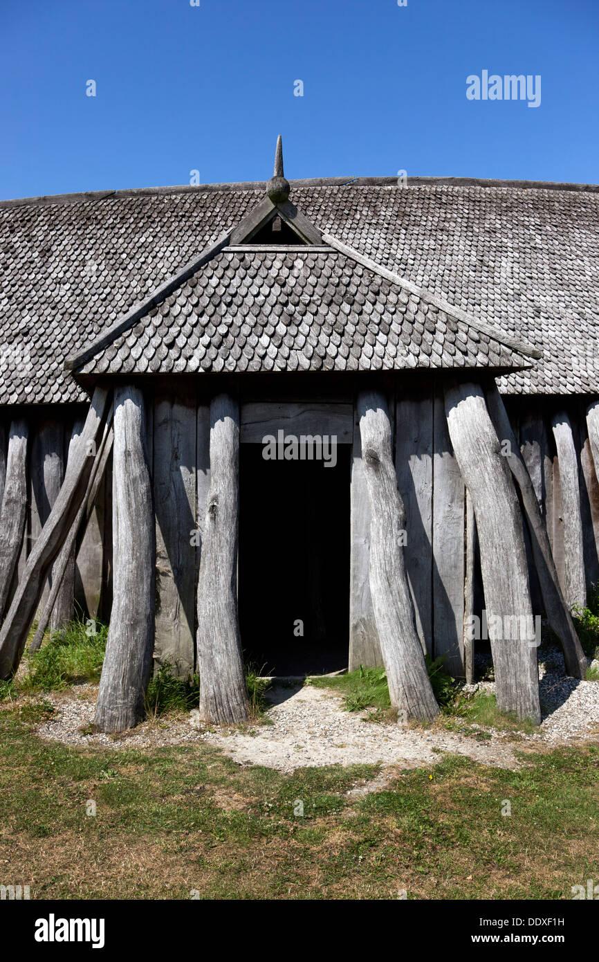 Viking longhouse at Fyrkat, Hobro, Denmark. - Stock Image