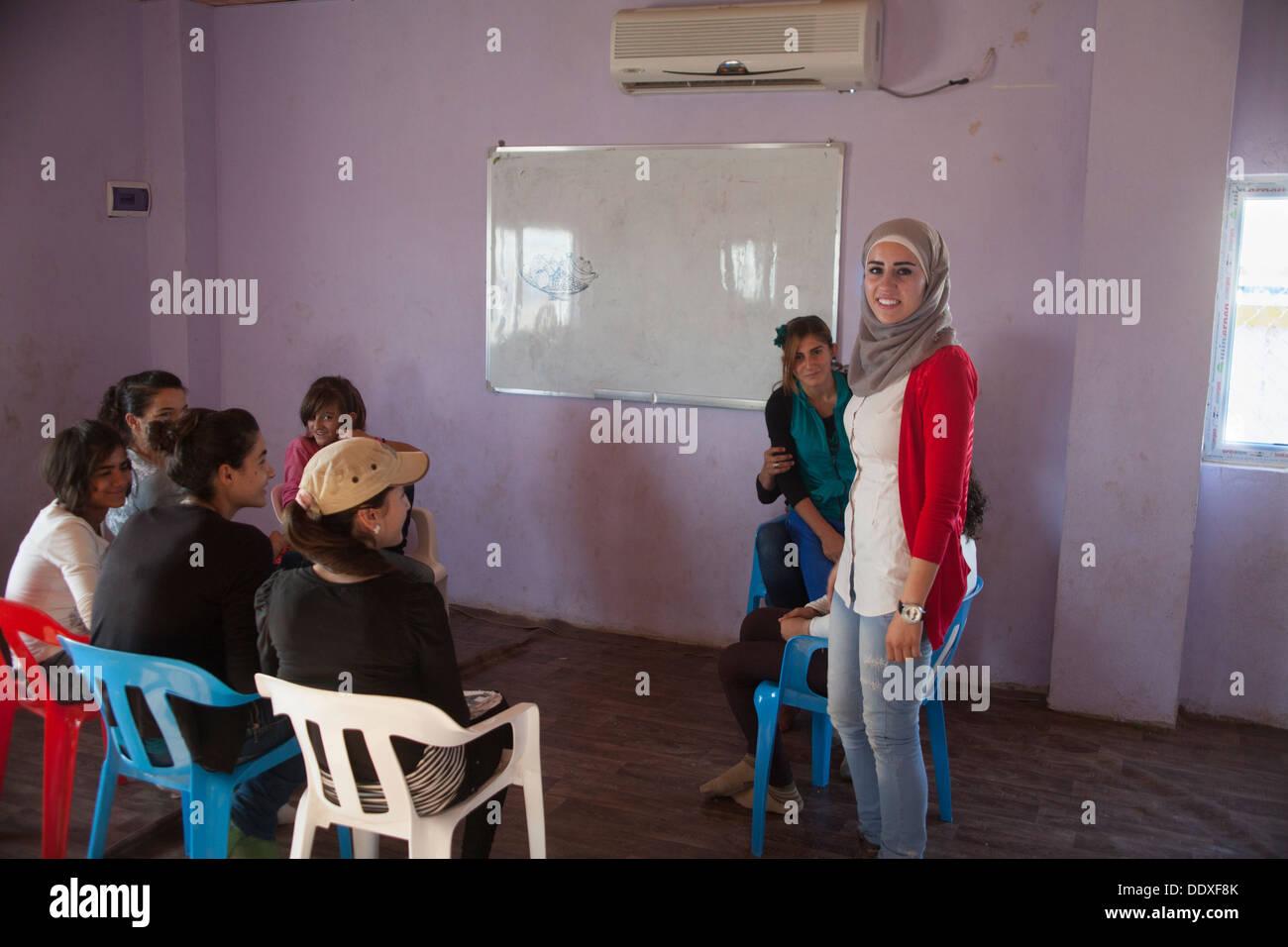 Domiz, Duhok province - Northern Iraq (Iraqi Kurdistan) - Domiz Refugees Camp Education is provided by the governorate of Kurdis - Stock Image