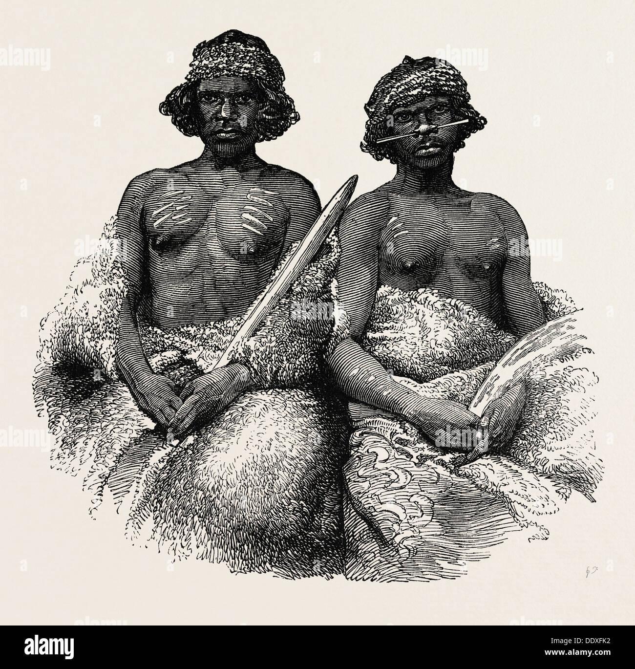 ABORIGINAL AUSTRALIANS: YOUNG MEN, 1850. PORT PHILLIP - Stock Image