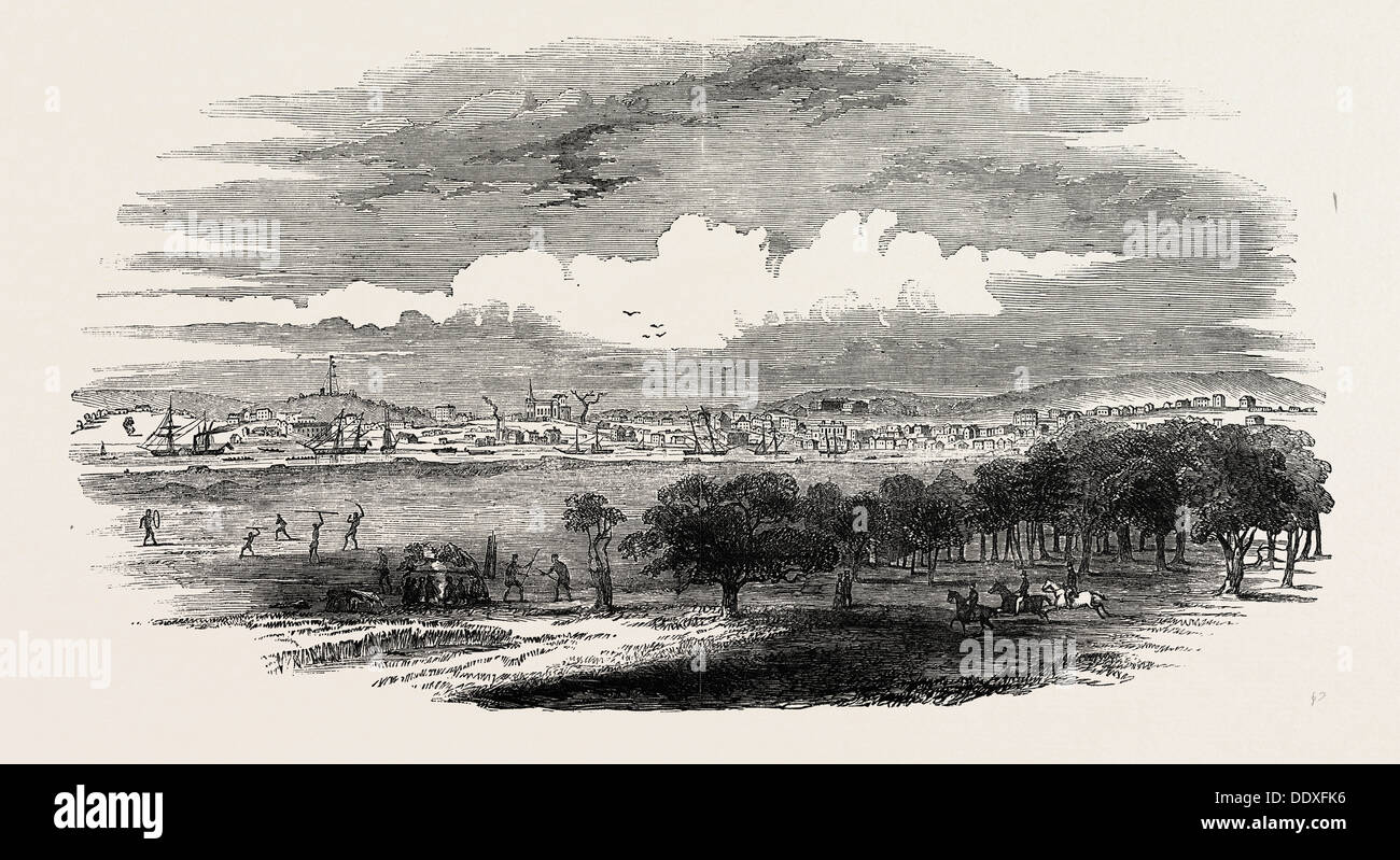 MELBOURNE, THE CAPITAL OF PORT PHILLIP. 1850 - Stock Image