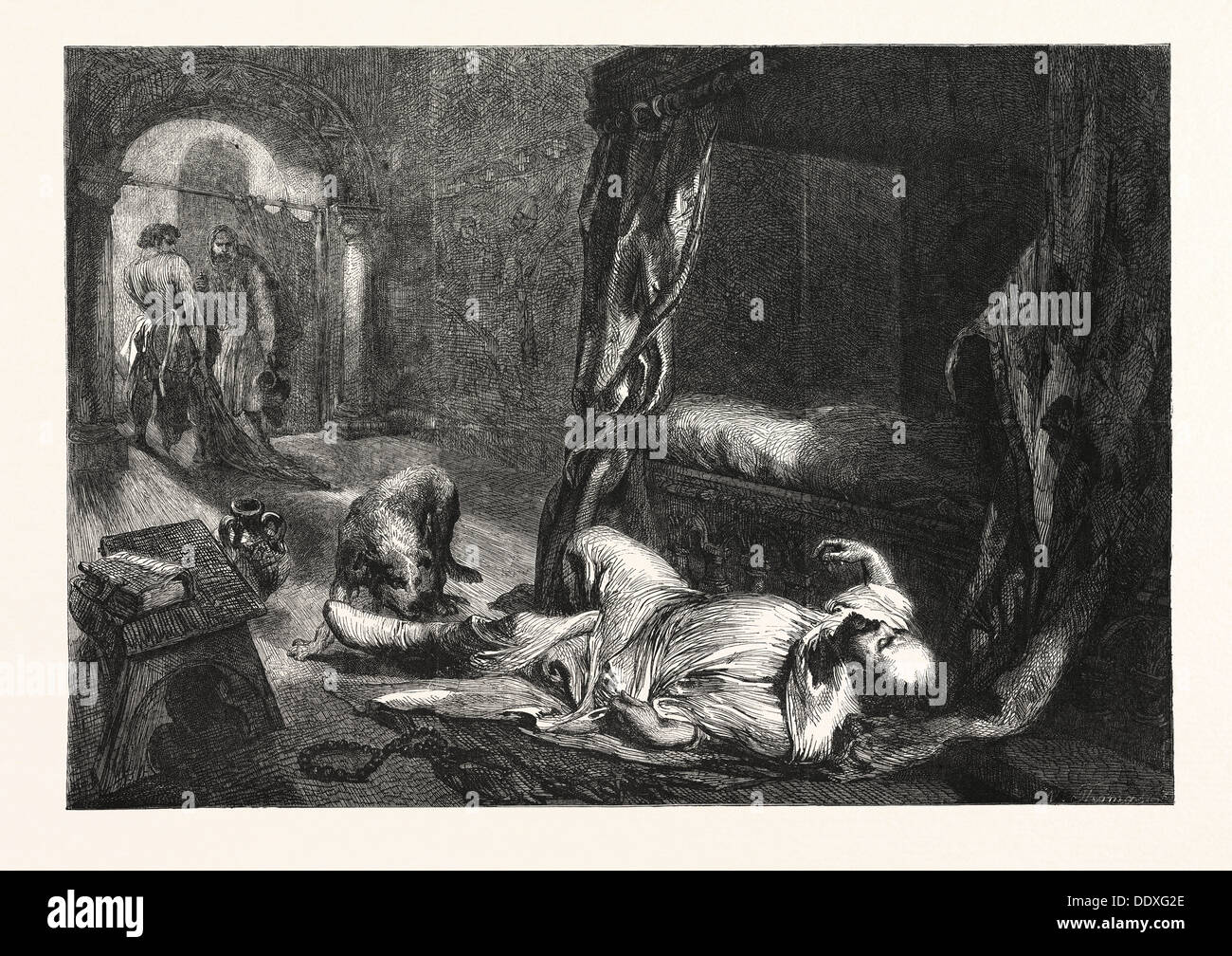 THE DEATH OF WILLIAM THE CONQUEROR, DRAWN BY J. GILBERT, 1861 - Stock Image