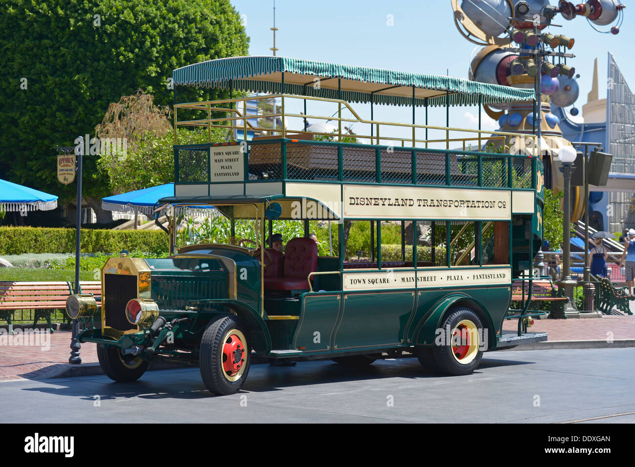 Disneyland Transportation, Trolley, Bus, Anaheim, California - Stock Image