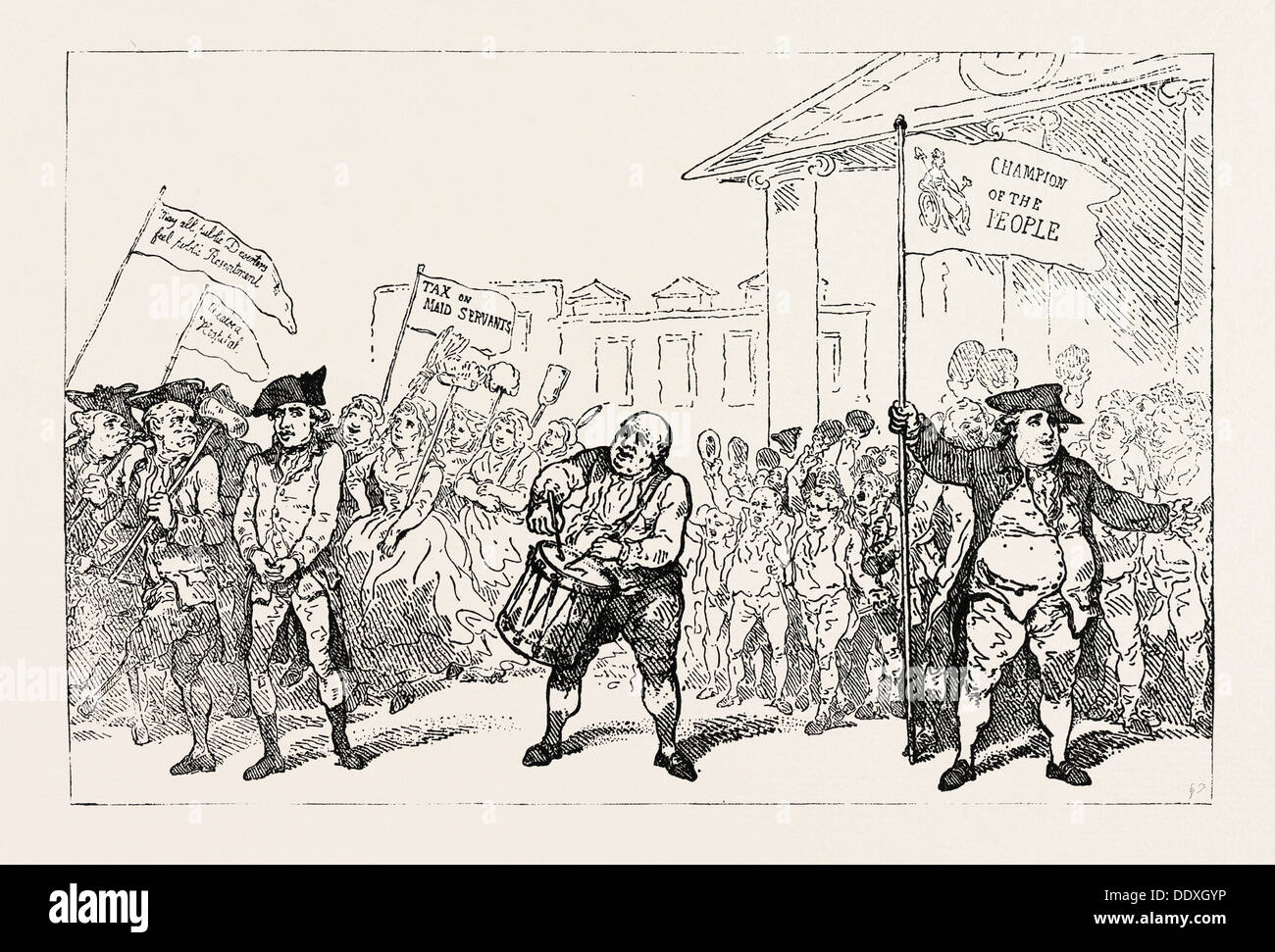 T. ROWLANDSON: THE WESTMINSTER DESERTER DRUMMED OUT OF THE REGIMENT - Stock Image