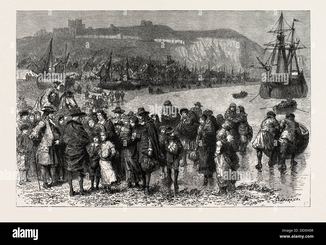 FRENCH HUGUENOT REFUGEES LANDING AT DOVER IN 1685. After the Revocation of the Edict of Nantes - Stock Image