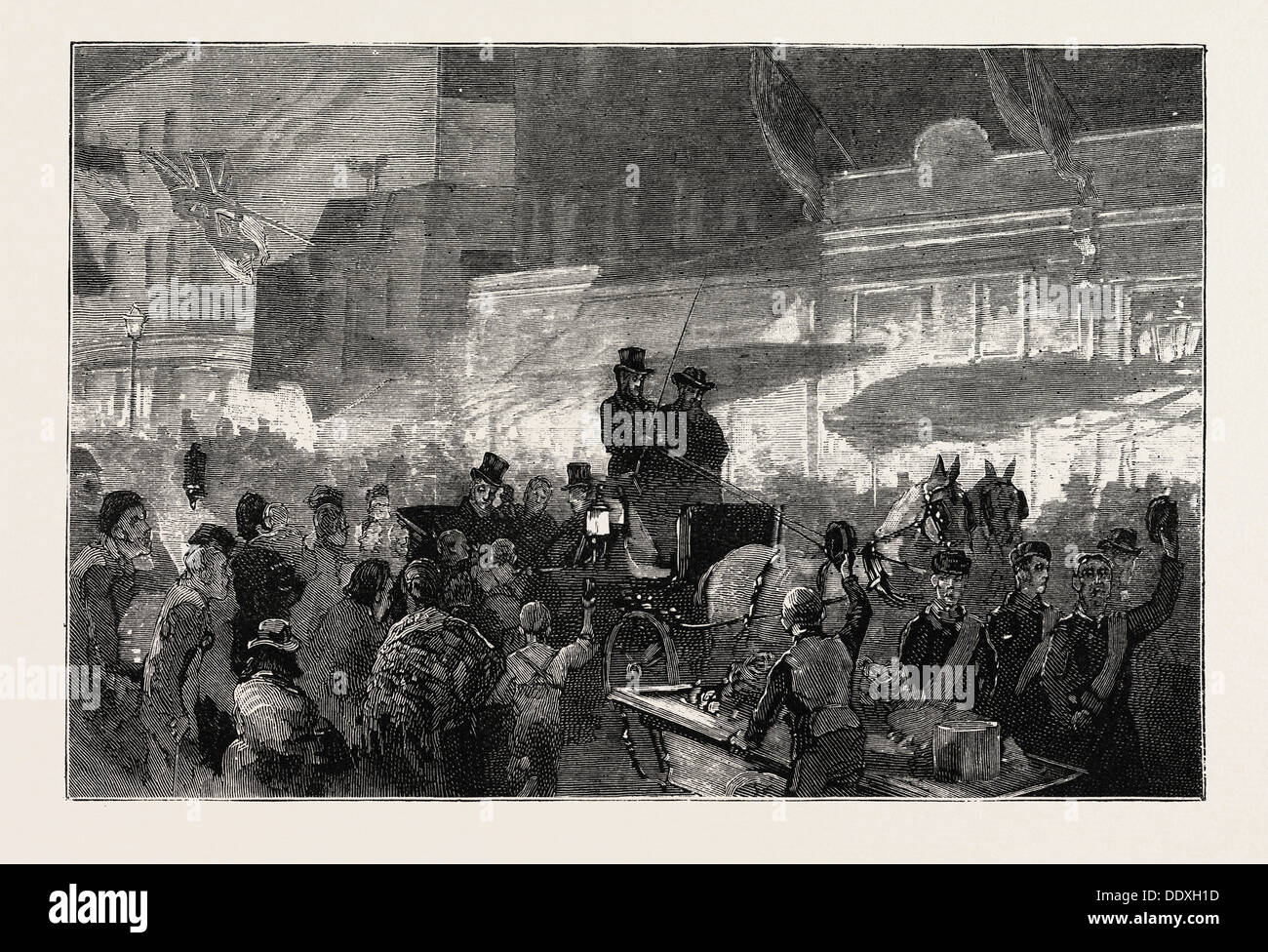 LORD SHAFTESBURY GOING TO OPEN THE COSTERS' HALL, HOXTON, 1875 - Stock Image