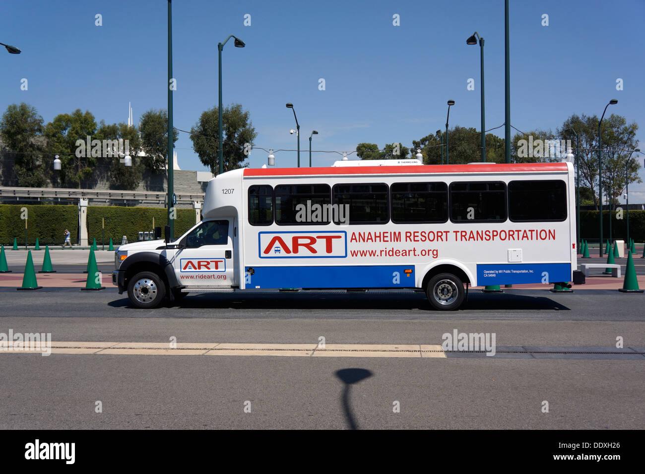 Disneyland Resort Shuttle ART, Bus, Anaheim, California - Stock Image