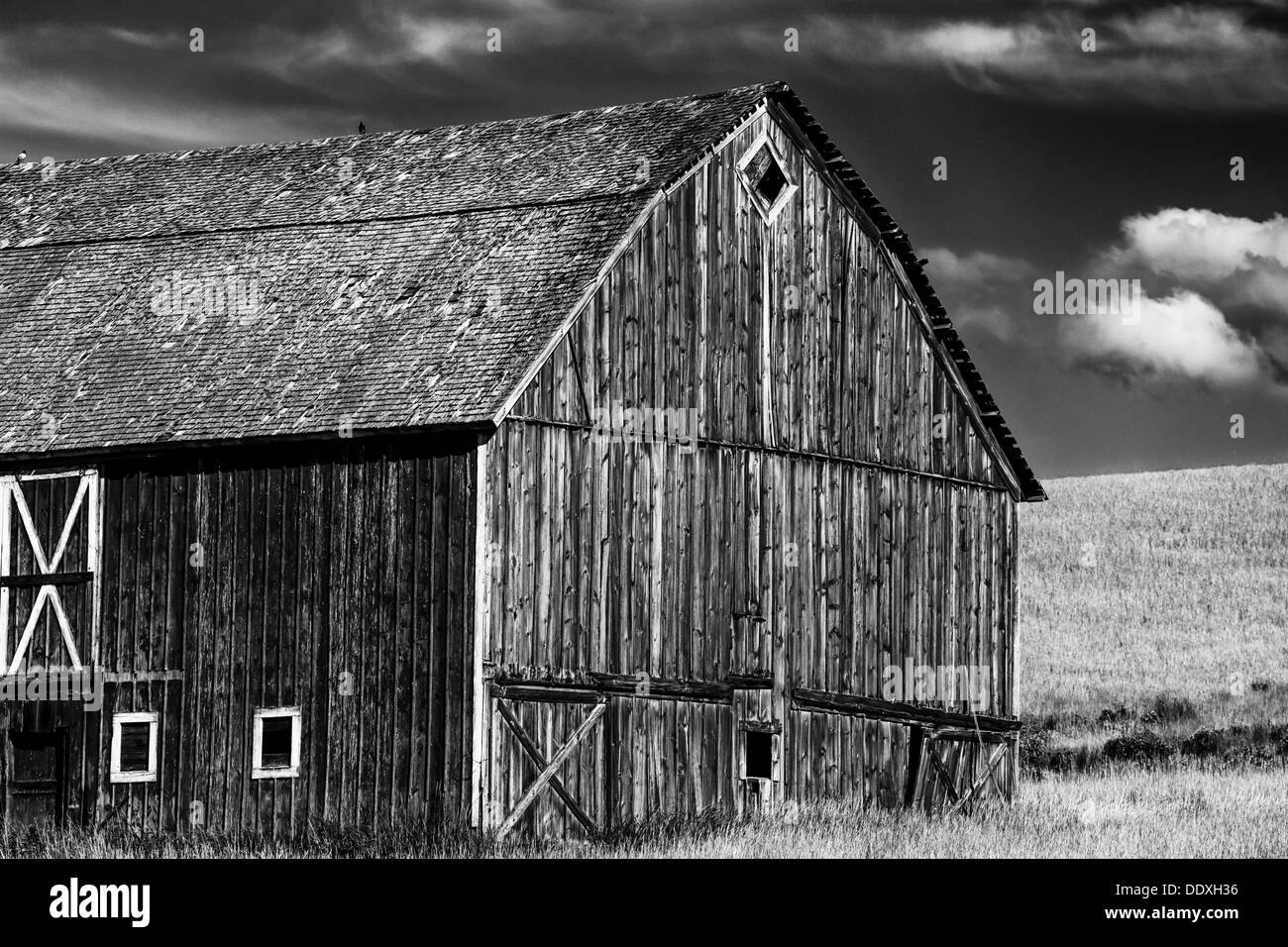 Black and White of an old barn in the Palouse farming region of SE Washington State, USA - Stock Image
