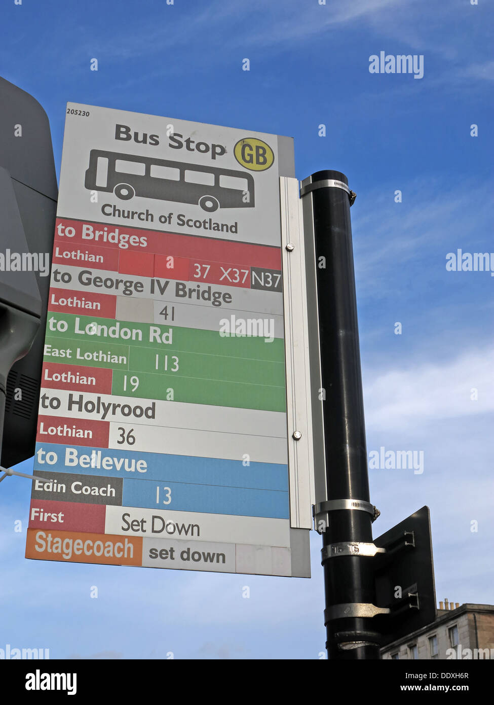 Edinburgh city bus stop,Lothian,First,Stagecoach buses - Stock Image