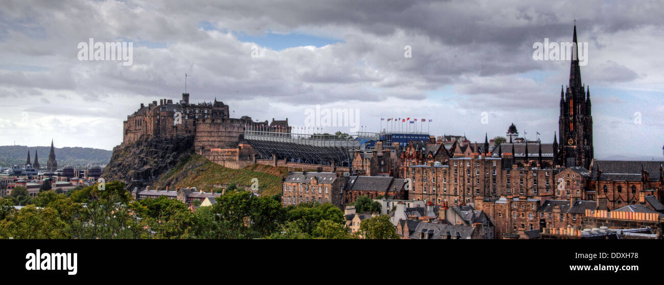 Panorama view of Edinburgh Castle over the city centre, Scotland, UK EH1 - Stock Image