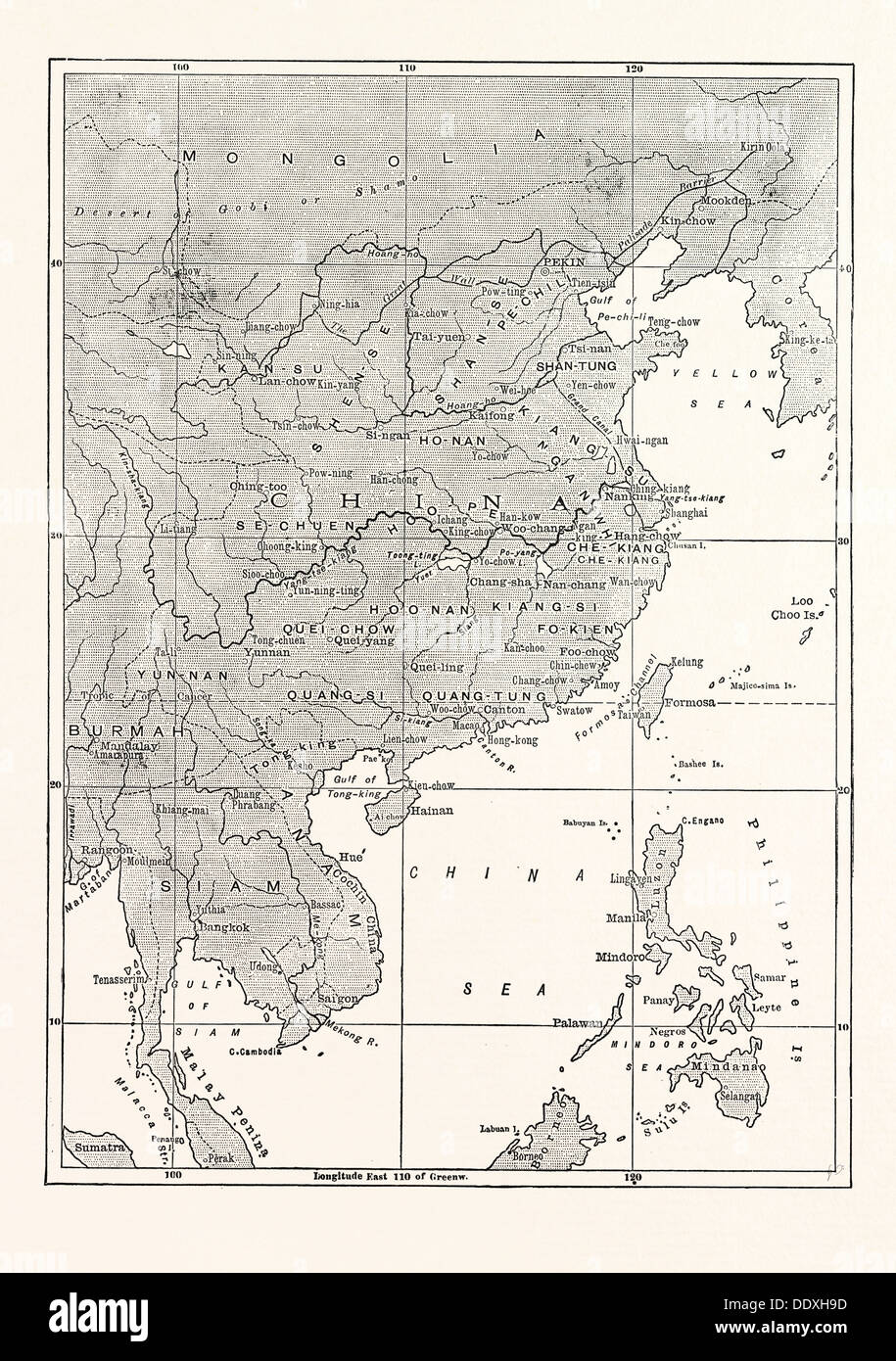 MAP OF CHINA AND SOME OF THE ADJOINING COUNTRIES - Stock Image