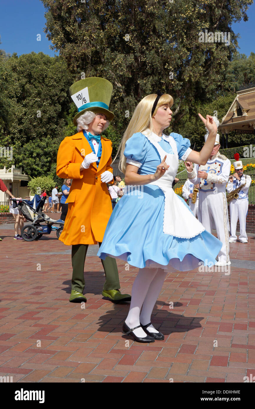 Disneyland Resort, Alice in Wonderland and Mad Hatter, Theme Park, Anaheim, California - Stock Image