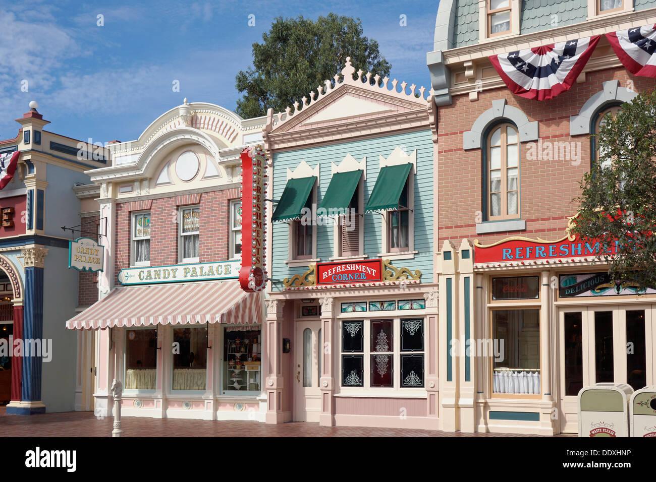 Disneyland, Shops and Eateries along Main Street, Anaheim, California - Stock Image