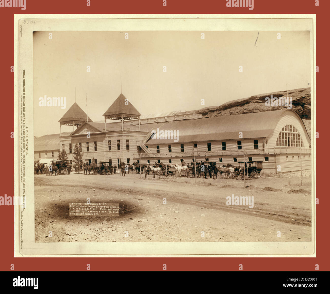 Hot Springs, S.D. Exterior view of largest plunge bath house in U.S. on F.E. and M.V. R'y - Stock Image