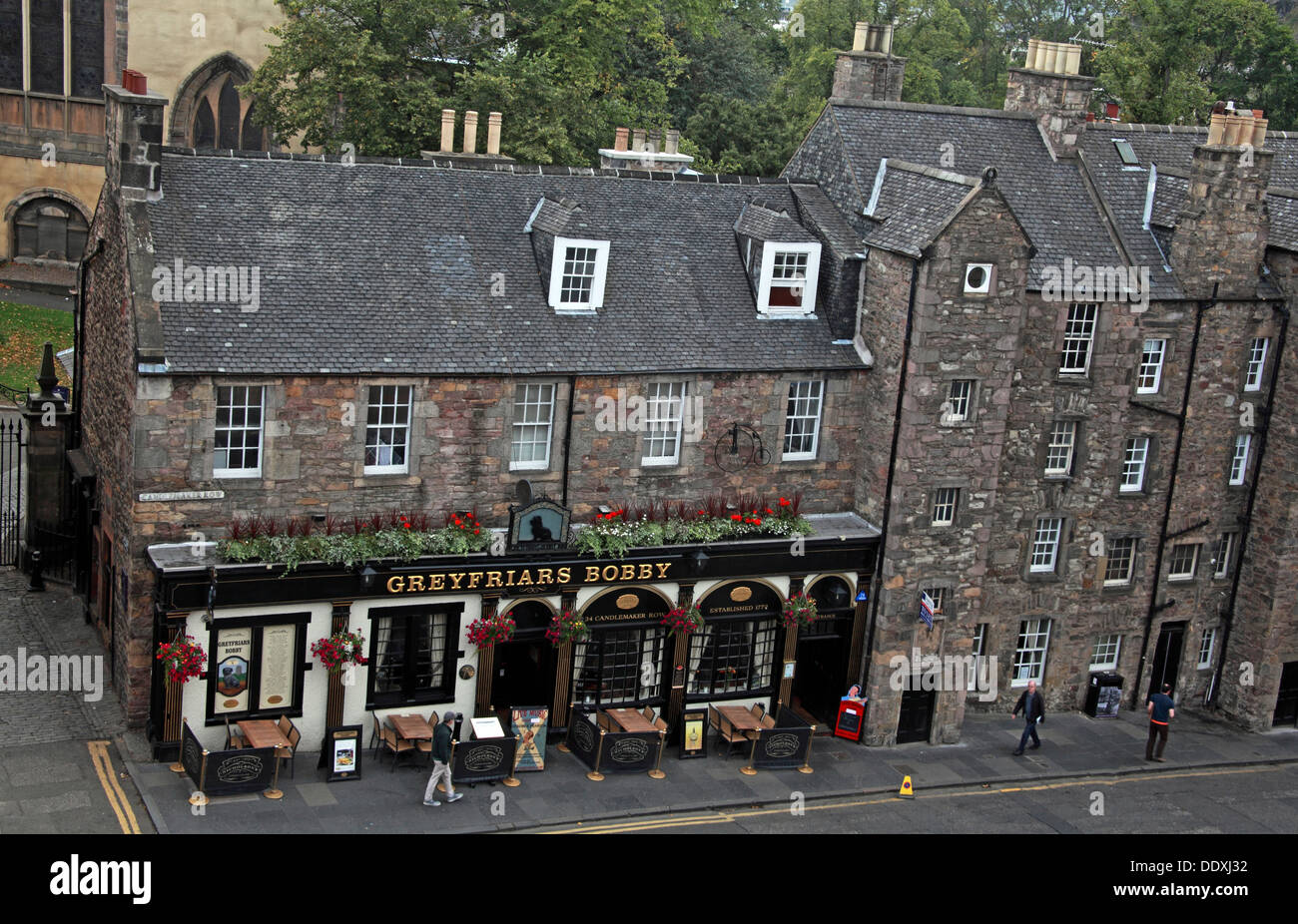 Looking down on Greyfriars Bobby Pub from above, Edinburgh Capital City, Scotland UK - Stock Image