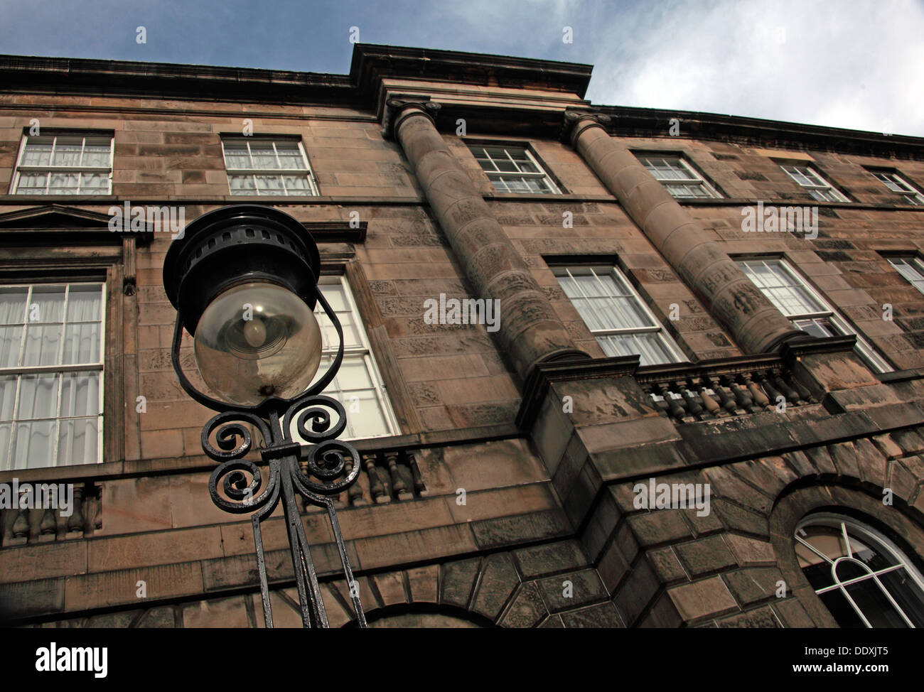 Buildings From Edinburgh New Town, classic architecture, street lamps , Lothian, Scotland, UK - Stock Image