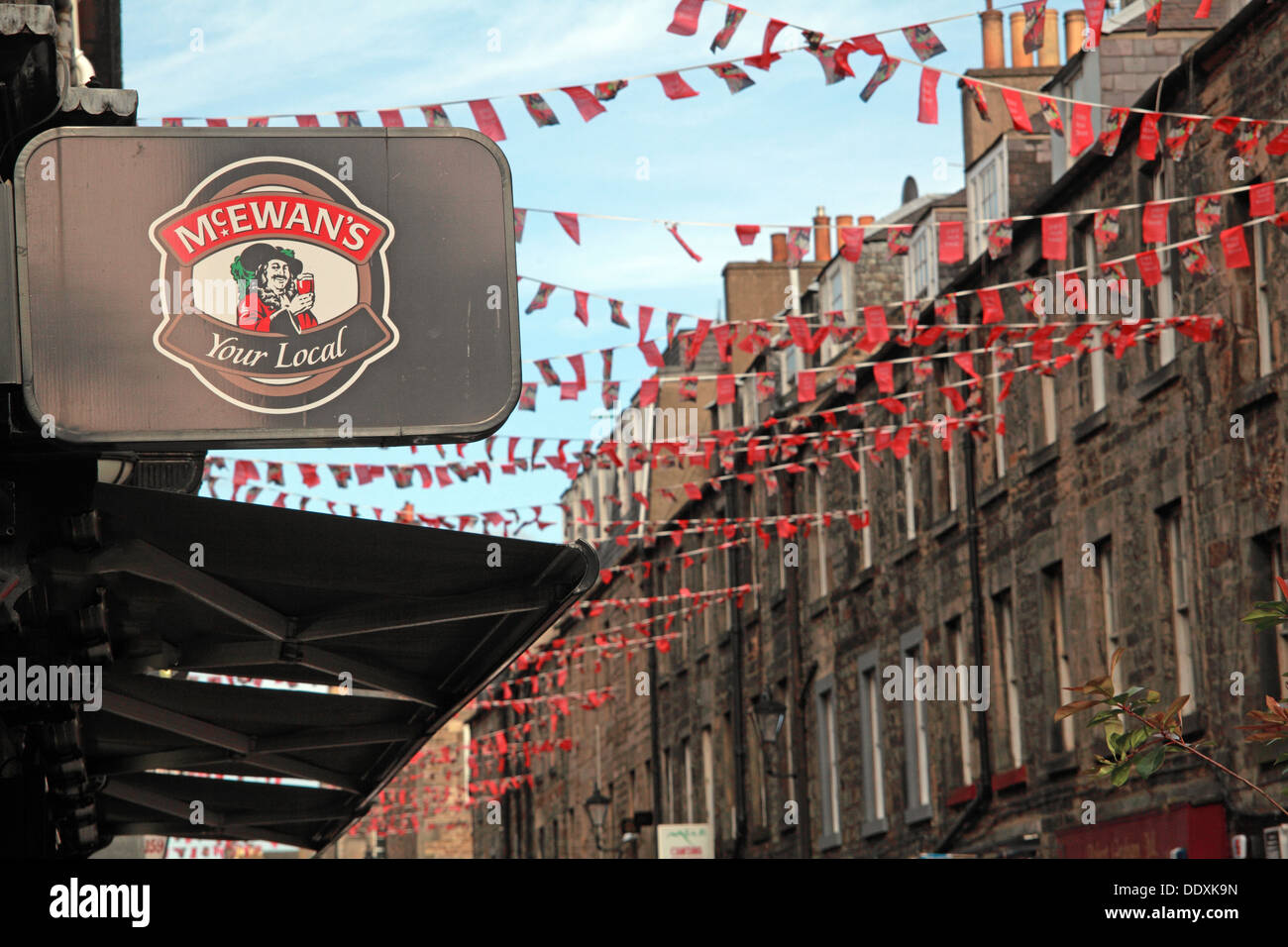 Rose Street,Edinburgh,Scotland,UK a place to drink,eat,party - McEwans Your Local Stock Photo