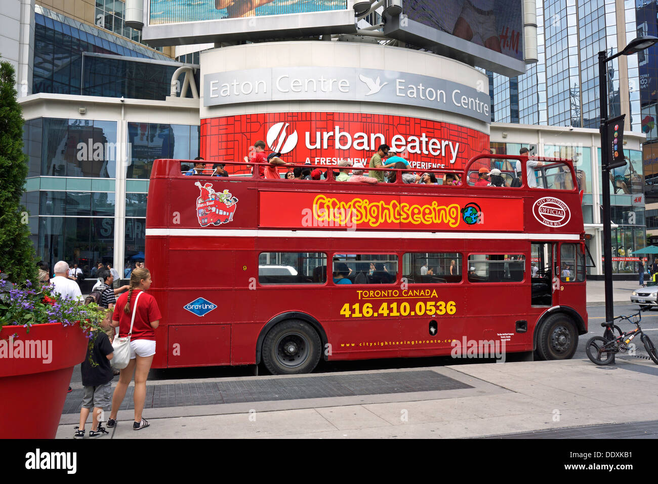 Toronto, Sightseeing Bus Hop on Hop Off, across from the Eaton Centre - Stock Image