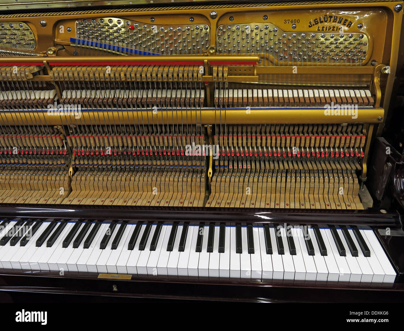 Bluthner Piano detail 37400, keys, mechanism, Leipzig, Germany Stock Photo