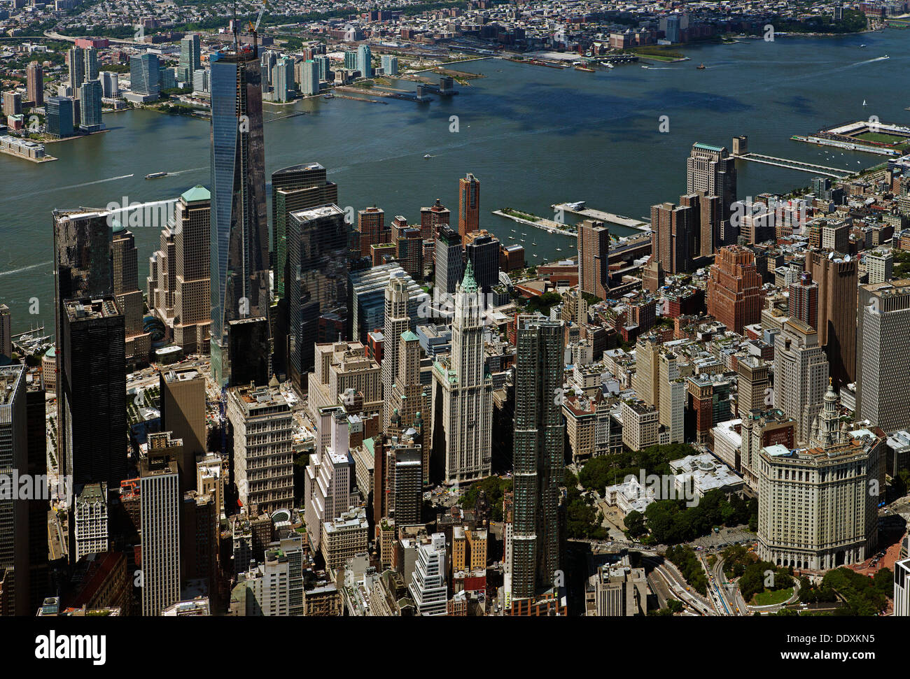 aerial photograph Freedom Tower, City Hall, Manhattan, New York City - Stock Image