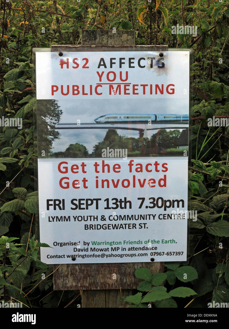 HS2 affects you poster,Public Meeting,Lymm,Cheshire,England,UK - Stock Image