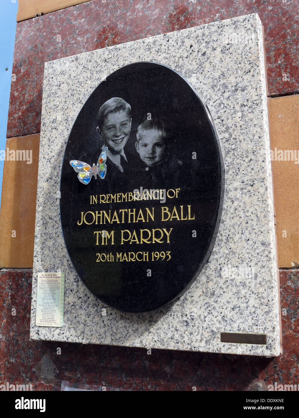Memorial to Jonathon Ball and Tim Parry, victims of IRA bomb in Warrington 20/03/1993, Cheshire,UK (Replacement Memorial) - Stock Image