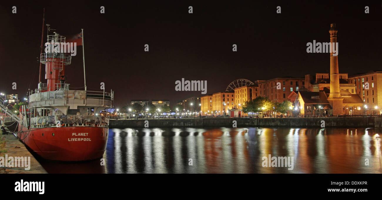 Albert Dock / Red planet  boat at Nighttime liverpool Merseyside England UK Stock Photo