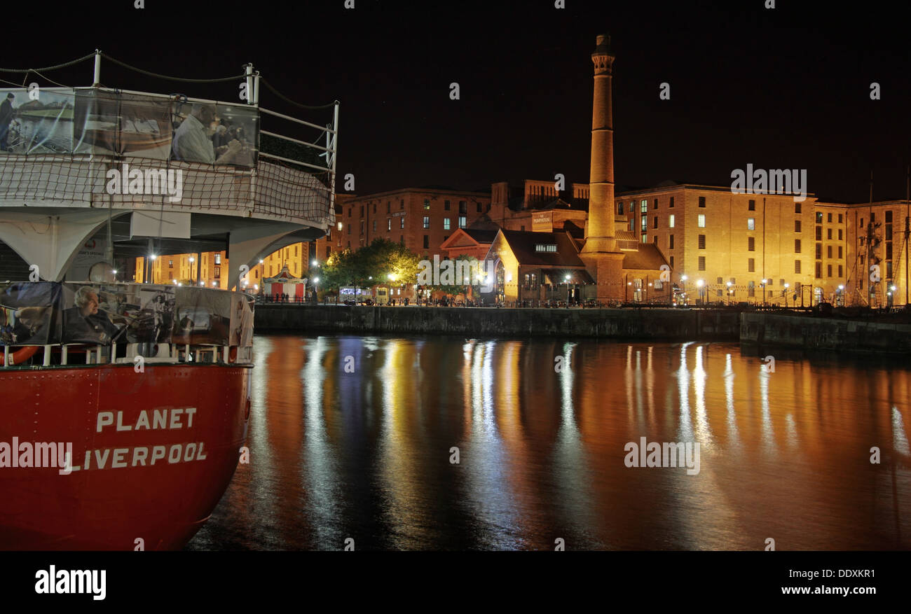 Planet Liverpool light ship Albert Dock at Nighttime liverpool Merseyside England UK - Stock Image