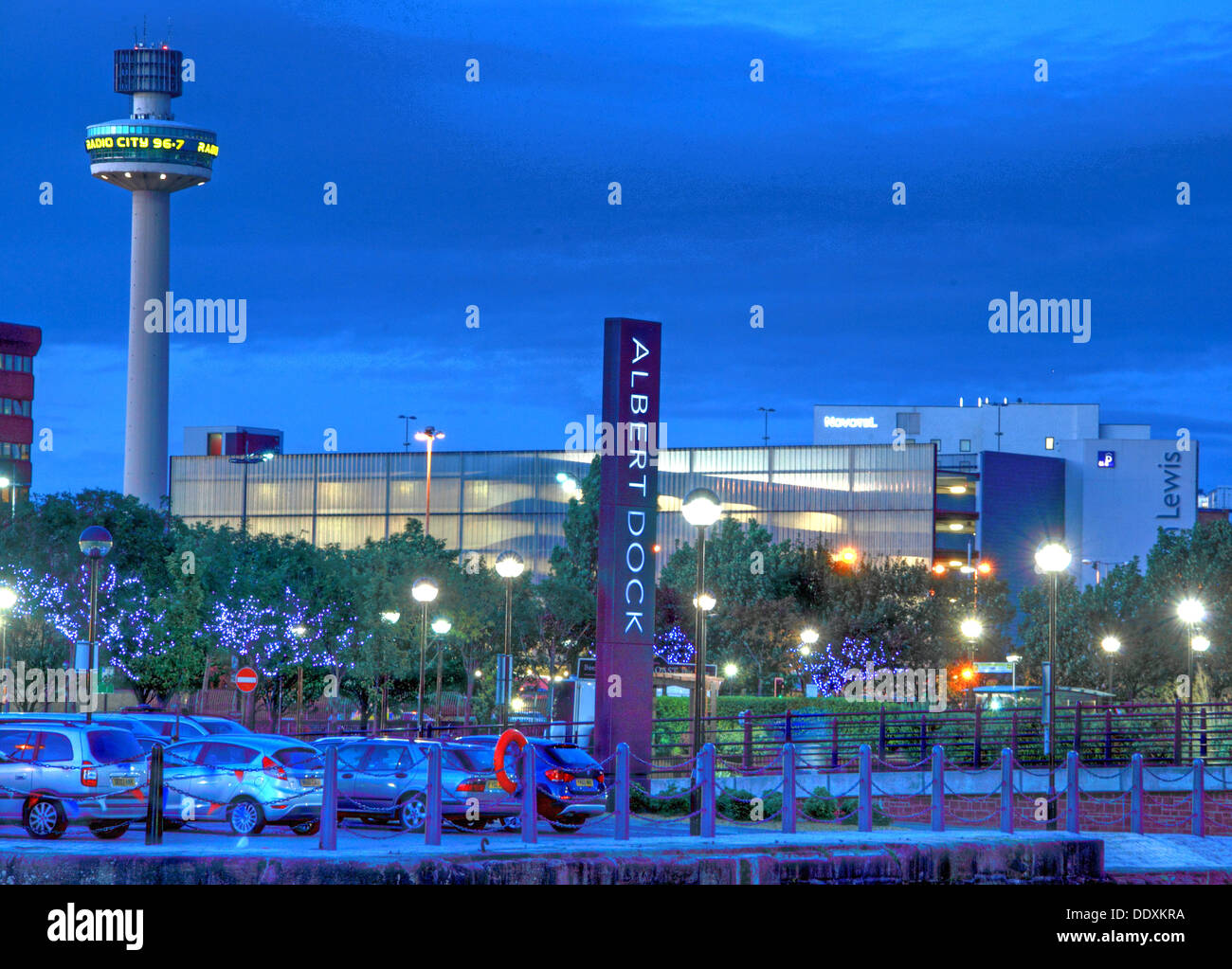 Albert Dock sign, Liverpool at night , Merseyside , England , UK blue hour - Stock Image