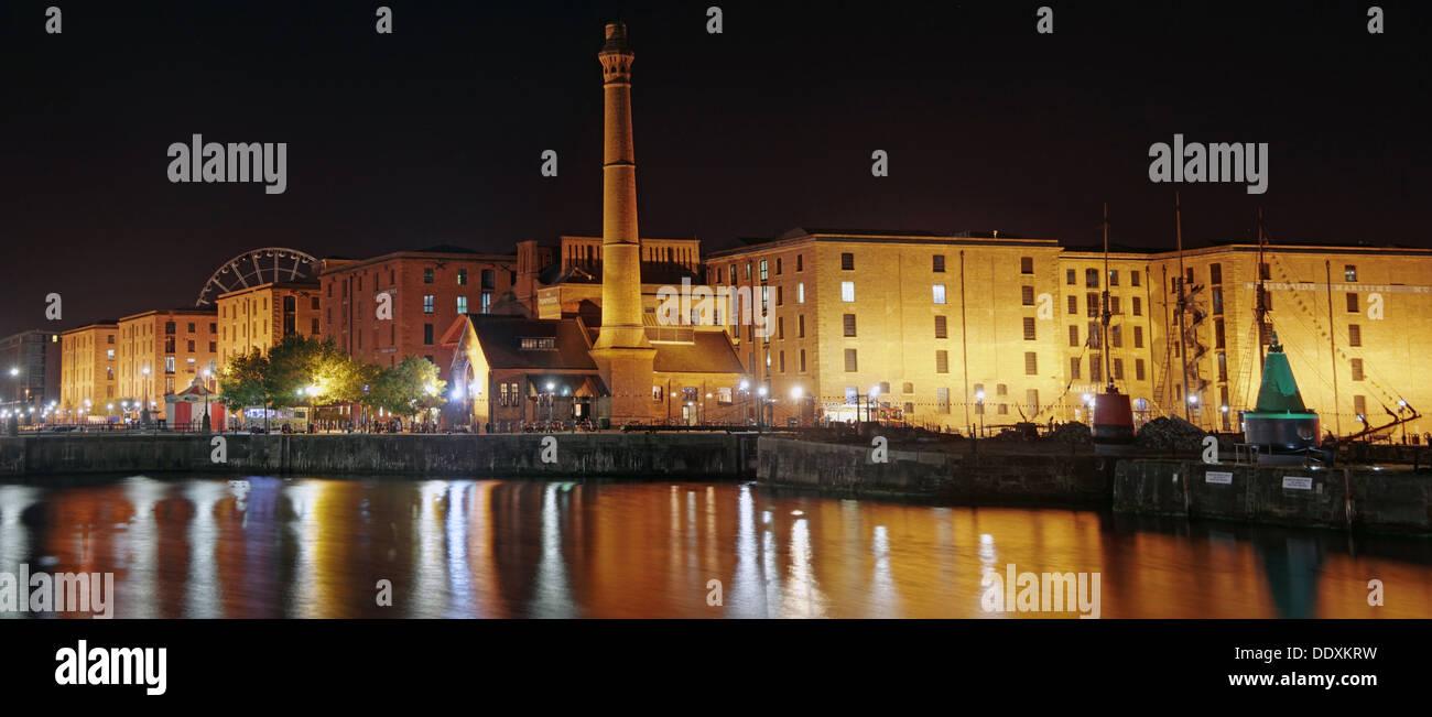 Albert Dock Liverpool at night , Merseyside , England , UK blue hour - Stock Image