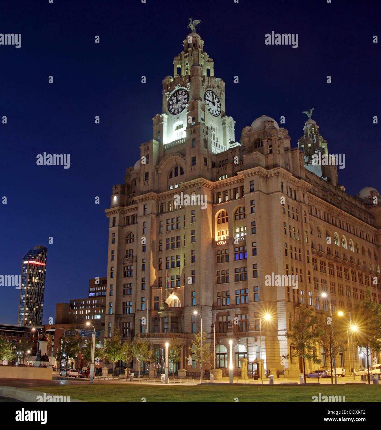 Pier Head Liver Building at dusk Liverpool Merseyside England UK - Stock Image