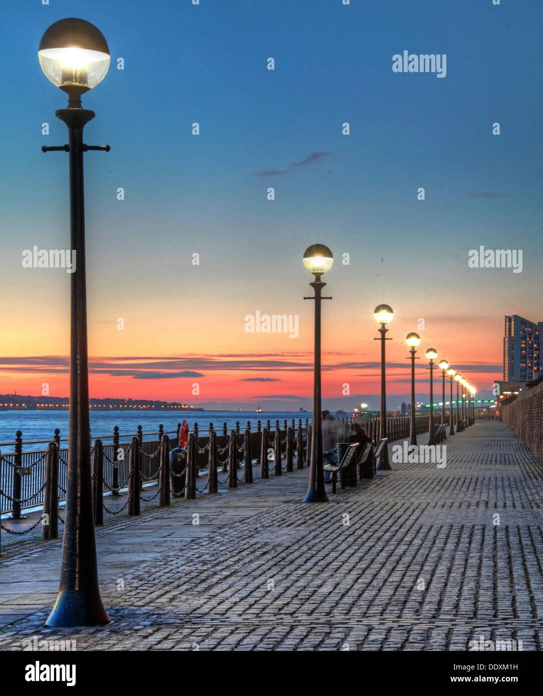 Albert Dock at Nighttime liverpool Merseyside England UK - Stock Image