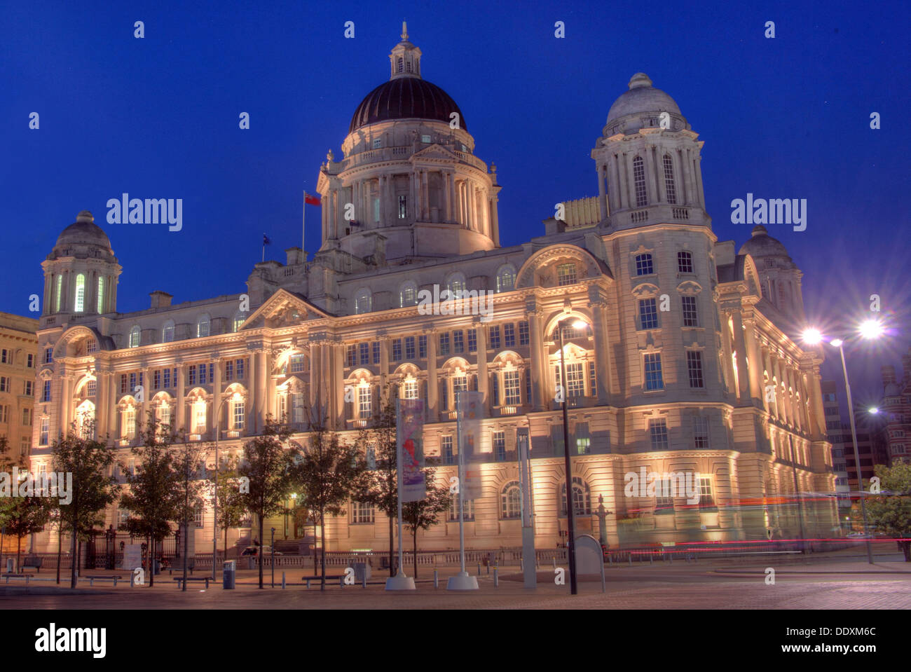 Pier Head Port of Liverpool at Nighttime Merseyside England UK - Stock Image