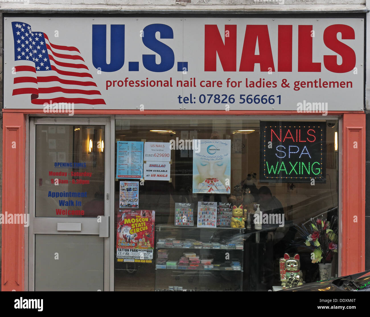 unisex nails shop for men and women in Warrington, Cheshire England UK WA1 - Stock Image