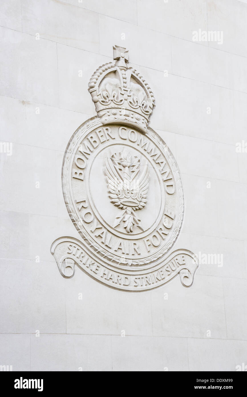 RAF Bomber Command Memorial, Green Park, London, England - inscription 'Strike Hard Strike Sure' - Stock Image