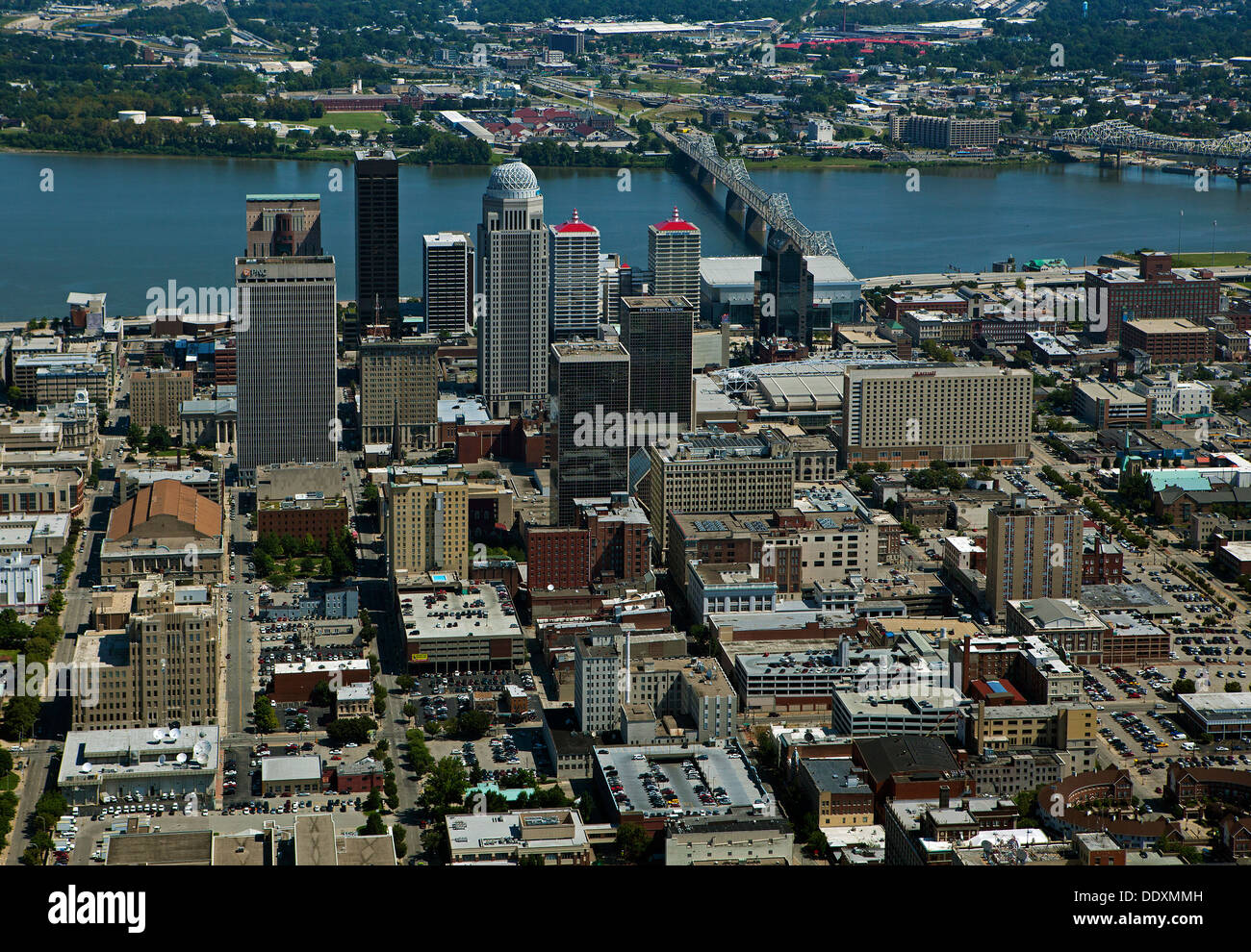 aerial photograph downtown Louisville, Kentucky - Stock Image