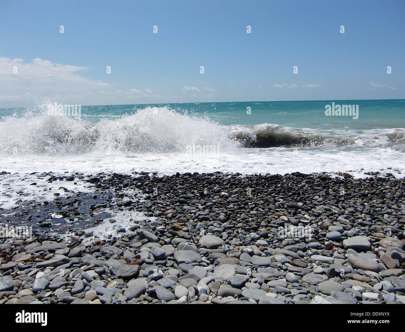 Black Sea at Lazarevskoe (Sochi, Russia) - Stock Image
